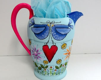 Summer Time Vintage Water Pitcher, Blue Birds, Garden Angel, Colorful Flowers, Red Heart, Tole or Hand Painted, Up-cycled Kitchen Decoration