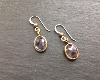 Dainty Dangles, Gold Mystic Quartz Earrings, Rainbow Quartz, 14kt Gold Fill Earrings, Quartz Jewelry