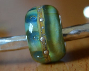 SALE - Unique Handmade Lampwork Glass European Charm Bead with Pure Silver - SRA - Fits all charm bracelets - Silver Core Options