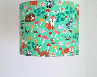 Lamp shades etsy ie woodland lampshade woodland nursery decor fox lampshade forest animals green lamp shade aloadofball Images