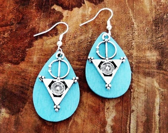 Earrings, drops, hand painted wooden turquoise ethnic style