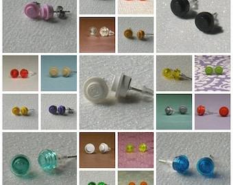 Colorful Mini Brick/Plate/Disc Earrings- Your Choice Two Pairs