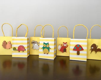 Woodland Forest Animal Party Favor Bags - Set of 8 bags