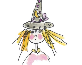 "LIL WITCH...Clipart / Digital Download / 300 dpi/ hi resolution of Original Watercolor . 8""x10"" Great for any application."
