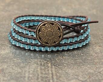 Lotus Jewelry Sparkling Silver Turquoise Lotus Bracelet Triple Turquoise Leather Wrap Bracelet