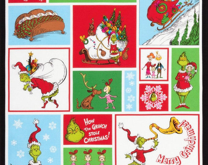 HOW THE GRINCH Stole Christmas 7 by Robert Kaufman, 24 x 44 inch Cotton Panel