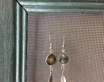 Labradorite and Feather Earrings