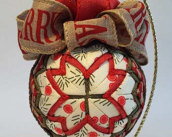 No sew quilted ornament Christmas heirloom Ribbon Fabric red green rustic