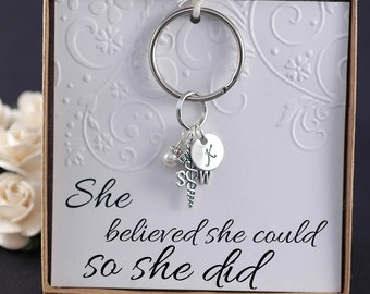 Social Worker Key Chain, social work professional, SW gift  - Sterling Silver Initial Charm, Pearl or Birthstone