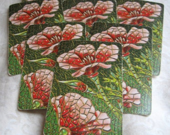 6 Mosaic Flowers Vintage Playing Cards