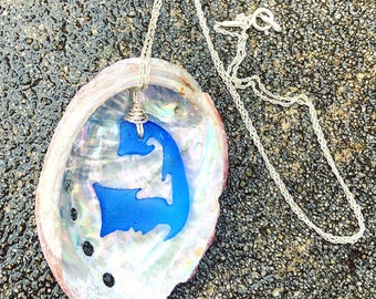 Cobalt Blue Cape Cod Island Sterling Silver Necklace