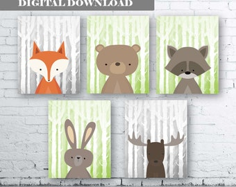 WOODLAND Animals Wall Art Print-Set of Six (5) - Digital Download. Woodland Creatures Wall Art Printable. Forest. Woodland Nursery Art.Green