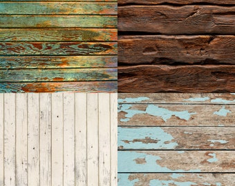 COMBO / FOUR PACK / 2ft x 2ft Vinyl Photography Backdrops for Product Photos, Teal, Brown, Green  and Cream FL30