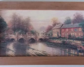 Framed Wallpaper, Hand Crafted Frame, Wallpaper Plaque, 23 3/8 Wide x 13 High,
