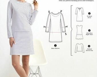 CLEARANCE Womens Knit Dress Pattern, Knit Shirt Dress Pattern, Drop Waist Dress Pattern, Simplicity Sewing Pattern 8375