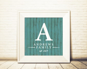 Customizable Family Name Print with Painted Wood Effect. Printable Rustic Home Art with Your Family Name and Initial.