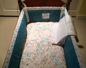 """CRADLE BEDDING SET """"J'Adore Paris"""" ~ 3 Piece Hand-Stitched Fitted Cradle Sheet/Padded Cradle Bumber/Cradle Blanket  (30"""" Square, Flannel)"""