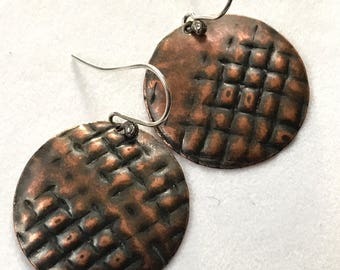 Time and Space circular copper artisan earrings  #17003