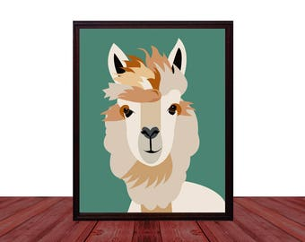 Llama Wall Art Printable Instant Download Digital Painting , Abstract Llama Wall Decor Digital Download , DIY Downloadable Llama Art Print