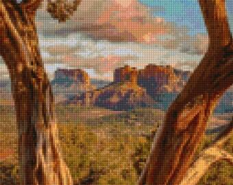 Sedona Arizona Morning Landscape Cross Stitch pattern PDF - Instant Download!