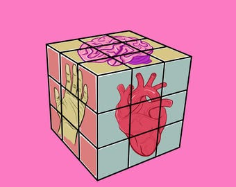 Heart-Head-Hand Rubix Cube