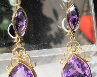 Amethyst Earrings, Amethyst Jewelry, Amethyst Dangle Earrings, Amethyst, Amethyst Gold Earrings, Earrings, Dangle Earrings, Earrings