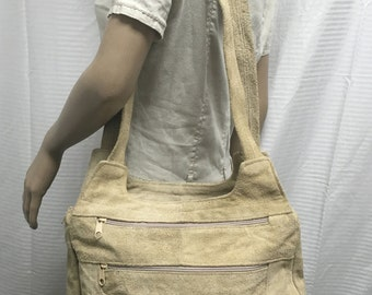 Large Boho bag, purse,tan suede leather,shoulder bag, Made in Mexico, bags, purses