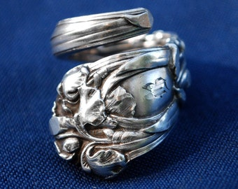 Vintage, Fashion Jewelry, Monogrammed, Valentine Gift, Repurposed, Art Nouveau Spoon Ring - Sterling Silver