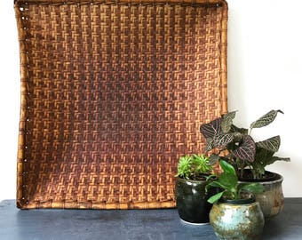 square bamboo tray - large woven wall basket - boho wall decor - brown rattan