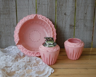 Glass Table Lighter, Ashtray, Cigarette Holder, Set, Shabby Chic, Pink, Boudoir, Hand Painted, Distressed, Cut Glass