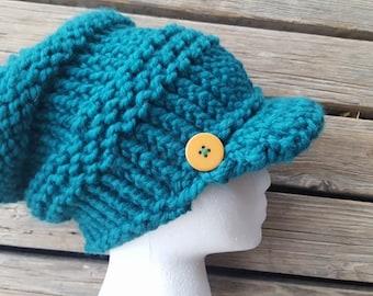 Slouchy beanie with visor
