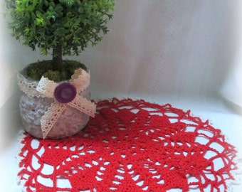 """Red Cotton Crocheted Doily with White Edge - Hand Crocheted Doily - 9"""" Diameter"""