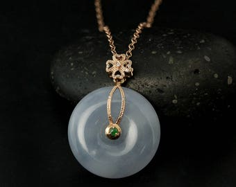 Natural Type A Lavender Jadeite Necklace – Diamond Clover Solid 18kt Rose Gold