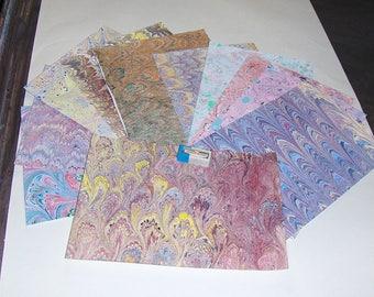 marbled paper, pack 12, ebru  ,,マーブル紙,   marmorpapier. decorative paper, -  cm 25 x 17,35  -  448