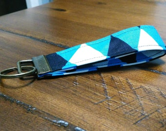 Blue Black White Chevron Key Fob Key Chain Key Holder