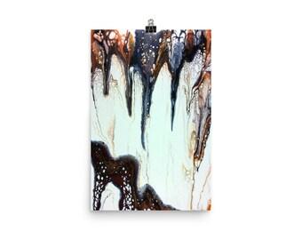 Semi-gloss Print: Acid Rain; abstract fluid art acrylic pour painting; wall art print