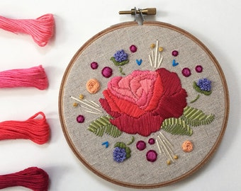 Rose in Bloom. Embroidery Pattern. Flora and Fauna Series.