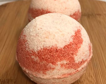 Lot of 10 Cherry Almond Bath Bombs, Pink Himalayan Salt Bath Bombs, Cherry Almond Scent, Bath Bombs, Bath Fizzy, Handmade Bath Bombs