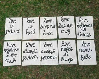 Wedding Aisle Decorations, Corinthians 13, Wedding Signs, Love is Patient, White Wedding Signs, Customizable Wood Signs, Set of 10