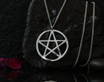 Silver Pentagram necklace, pentagram charm, pentagram pendant, silver pentacle necklace, sterling silver, pentacle pendant, wiccan jewelry