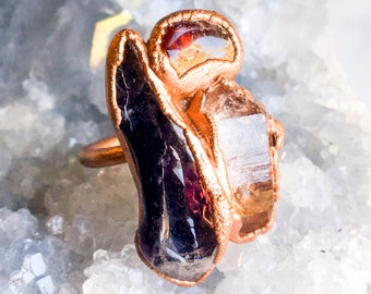 Amethyst, Arkansas Quartz, Citrine and Copper Ring Size 7