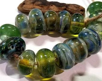 Lampwork Glass Borosilicate Beads SEA FOAM Two Sisters Designs 043018C