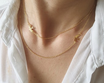 Multi-strand necklace with swallow pendants in silver 925 gold-plated