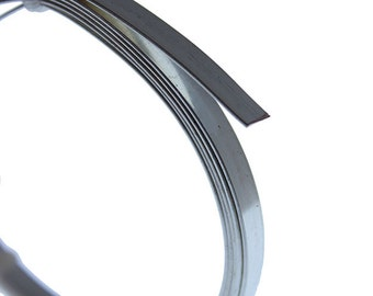 Flat Tarnish Resistant Silver Color Artistic Wire 5.0mm x 0.75mm 3 Foot Coil  (WR47210)