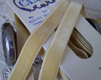 Beautiful Soft Wheat Colored rayon VELVET ribbon, vintage, one yard