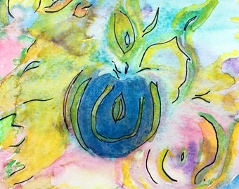 Sacred Nectar Original Watercolor in glass frame ready to hang by Amy Drago