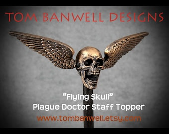 Flying Skull Plague Doctor Staff Topper