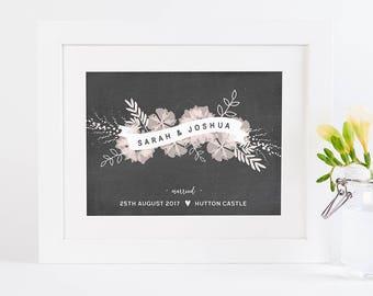 Wedding Personalised Print Botanical Banner Chalk & Blush