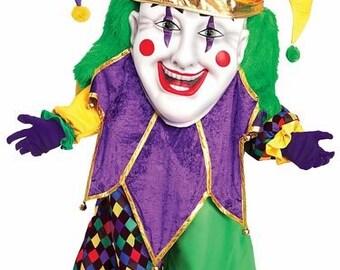 Adult MardiGra Mascot Jester Clown Costume