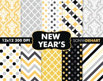 80% OFF SALE Digital Paper New Year's Eve Background Patterns